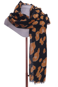 Black & Ochre Print Ladies Scarf