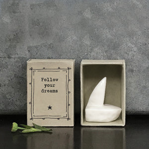 Matchbox Porcelain Boat Follow Your Dreams