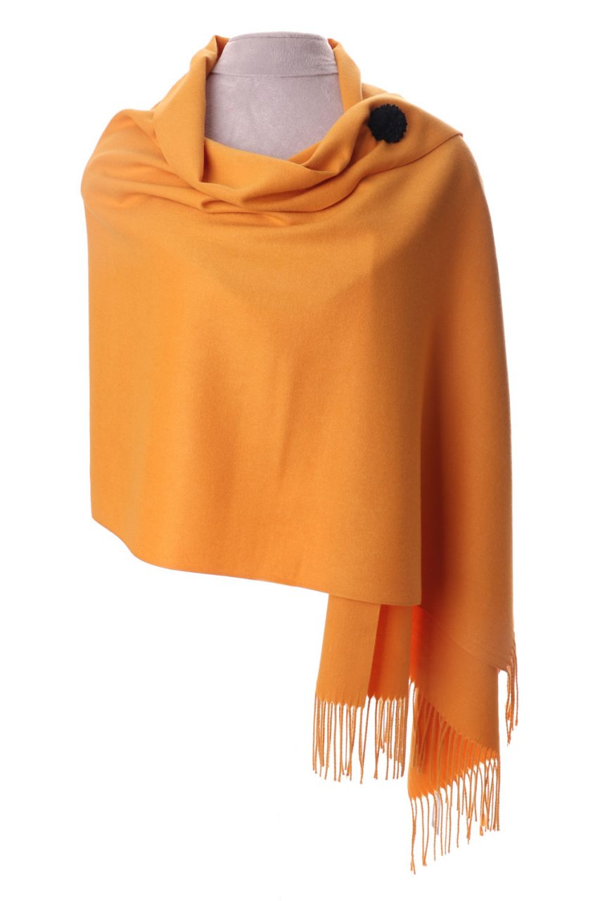 Mustard Yellow Pashmina With Scarf Pin