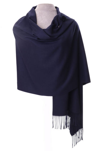 Navy Pashmina With Scarf Pin
