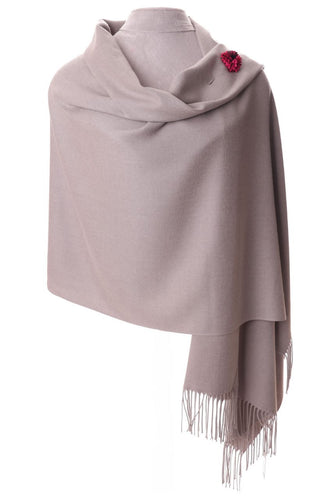 Dove Grey Pashmina With Scarf Pin