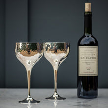 Load image into Gallery viewer, Culinary Concepts Pair of Silver Plated Hammered Wine Goblets