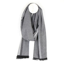 Load image into Gallery viewer, Men's Striped Herringbone Soft Scarf Grey