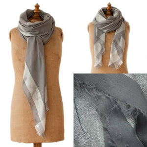 Grey & Silver Metallic Edged Scarf