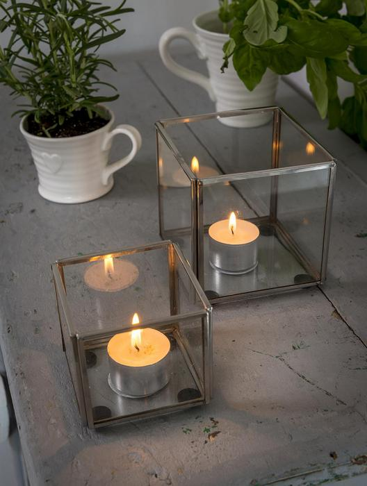 Small Glass & Metal Hurricane Candle Holder