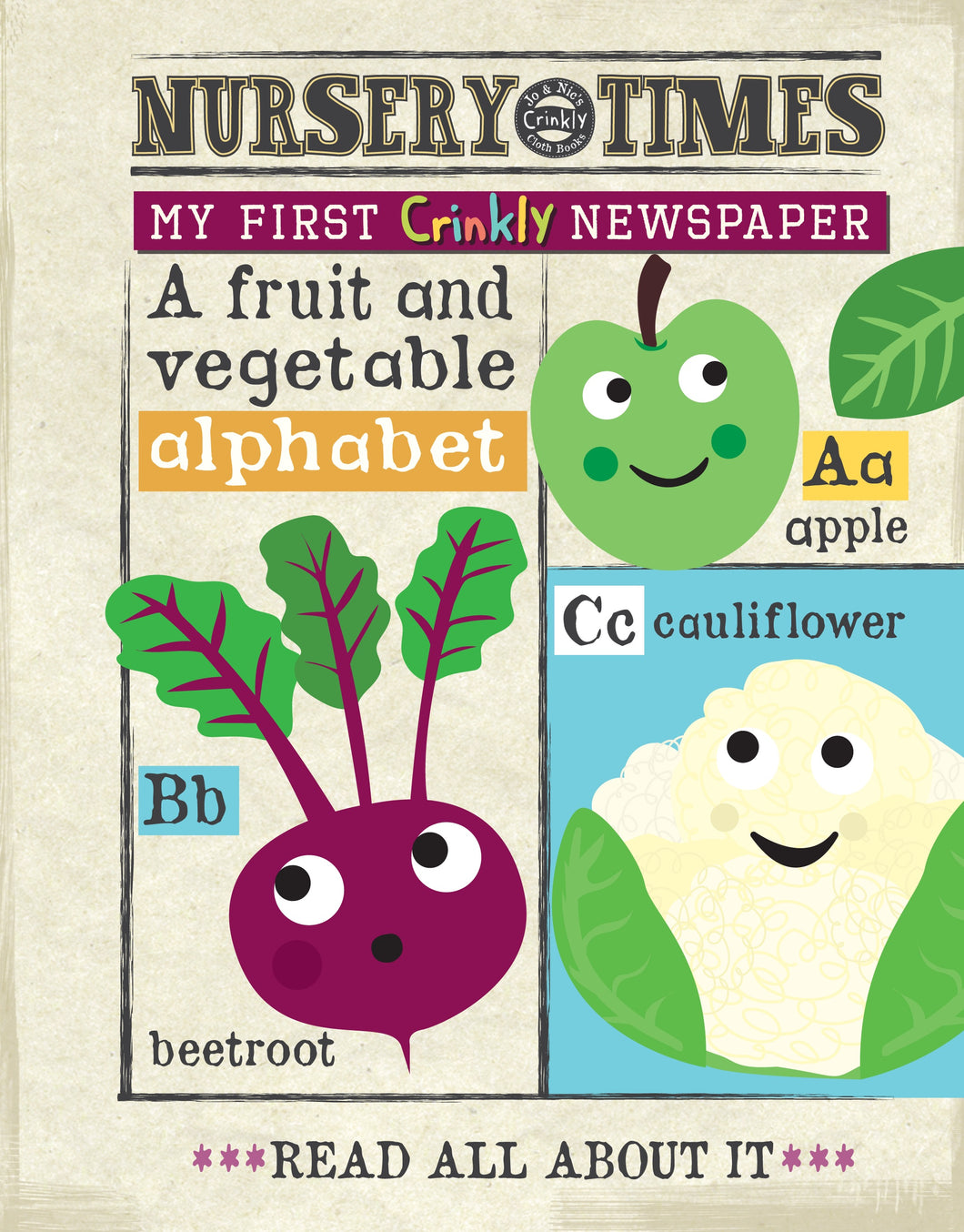 Jo & Nic's Crinkly Cloth Books Fruit & Veg