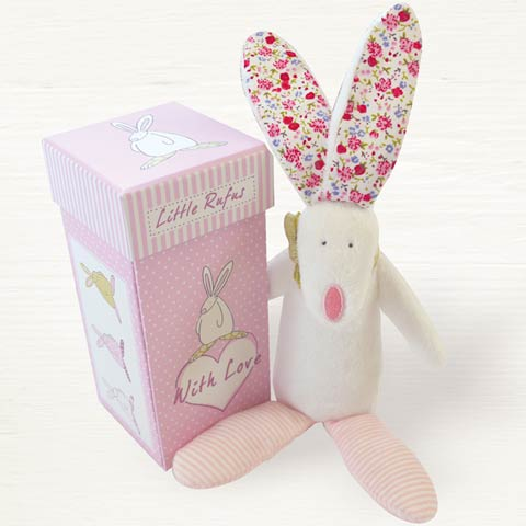 Rufus Rabbit Pink Boxed Rattle