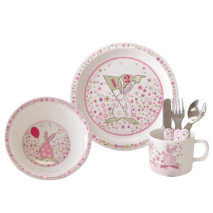 Rufus Rabbit Pink Melamine Dinner Set