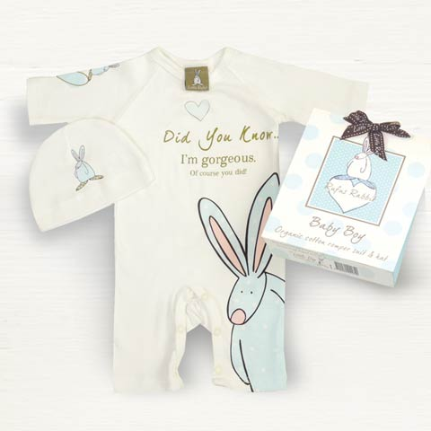 Rufus Rabbit Blue Romper Suit Set