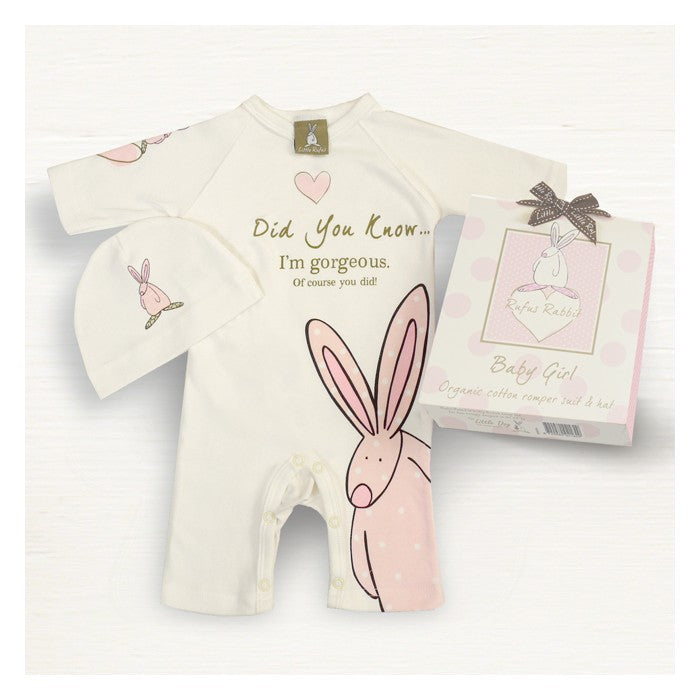 Rufus Rabbit Pink Romper Suit Set