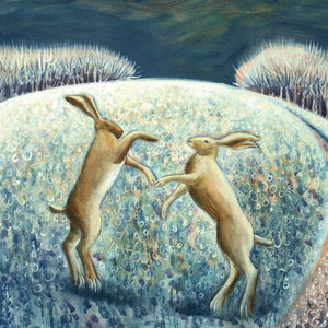 Boxing Hare In The Snow Greetings Card By Hannah Giffard