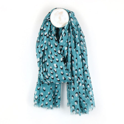 Teal Scarf With White Dot Print