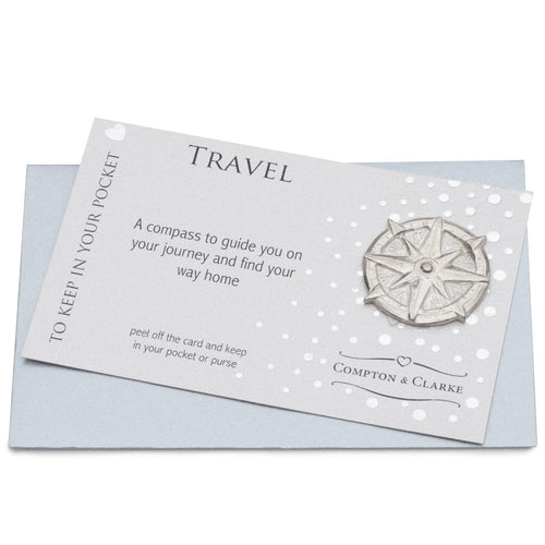 Travel Compass Pewter Pocket Charm