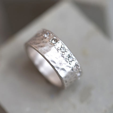 Silver Ring With Crystal Edge