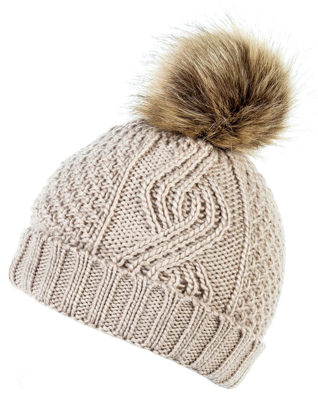 Darby Pom Oatmeal Knitted Hat