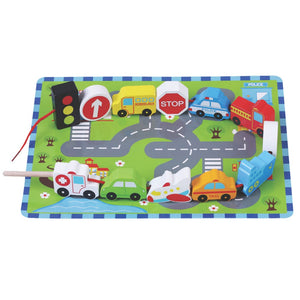 Traffic Wooden Lacing Game