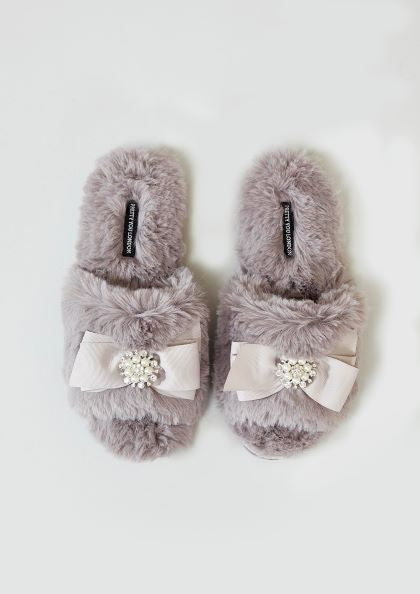 Anya Faux Fur Embellished Bow Slippers Size L UK 6-7