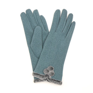 Angora Style Gloves With Faux Fur Trim In Teal