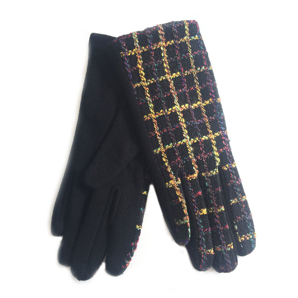 Multicoloured Embroidered Check Gloves