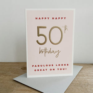 Megan Claire Juniper Blush 50th Birthday Greetings Card