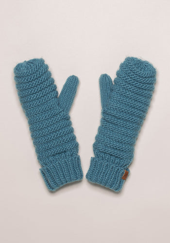 Chunky Knit Lined Mittens Blue
