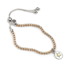 Silver & Rose Gold Sparkle Bracelet With Star Charm