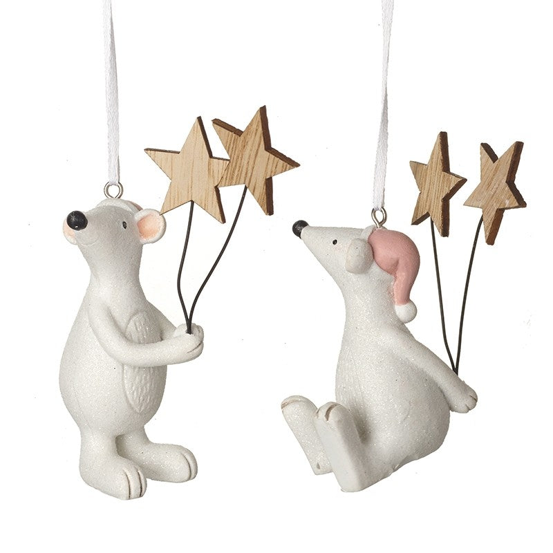 Two Hanging Mice Seasonal Decorations