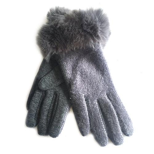 Textured Gloves With Faux Fur Trim Grey