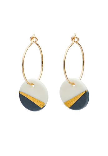 Porcelain Slate Grey Ray Earrings