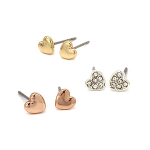 Triple Heart Crystal Earring Set