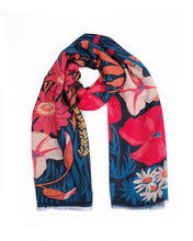 Load image into Gallery viewer, Country Garden Printed Scarf Navy
