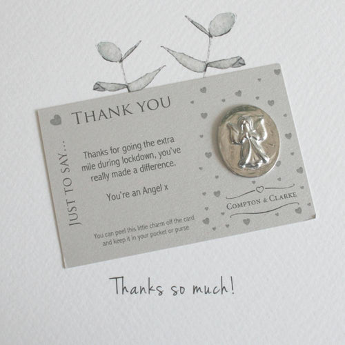 Thank You You're An Angel Pewter Pocket Charm