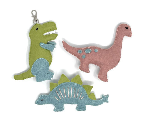 Three Felt Dinosaurs Sewing Kit
