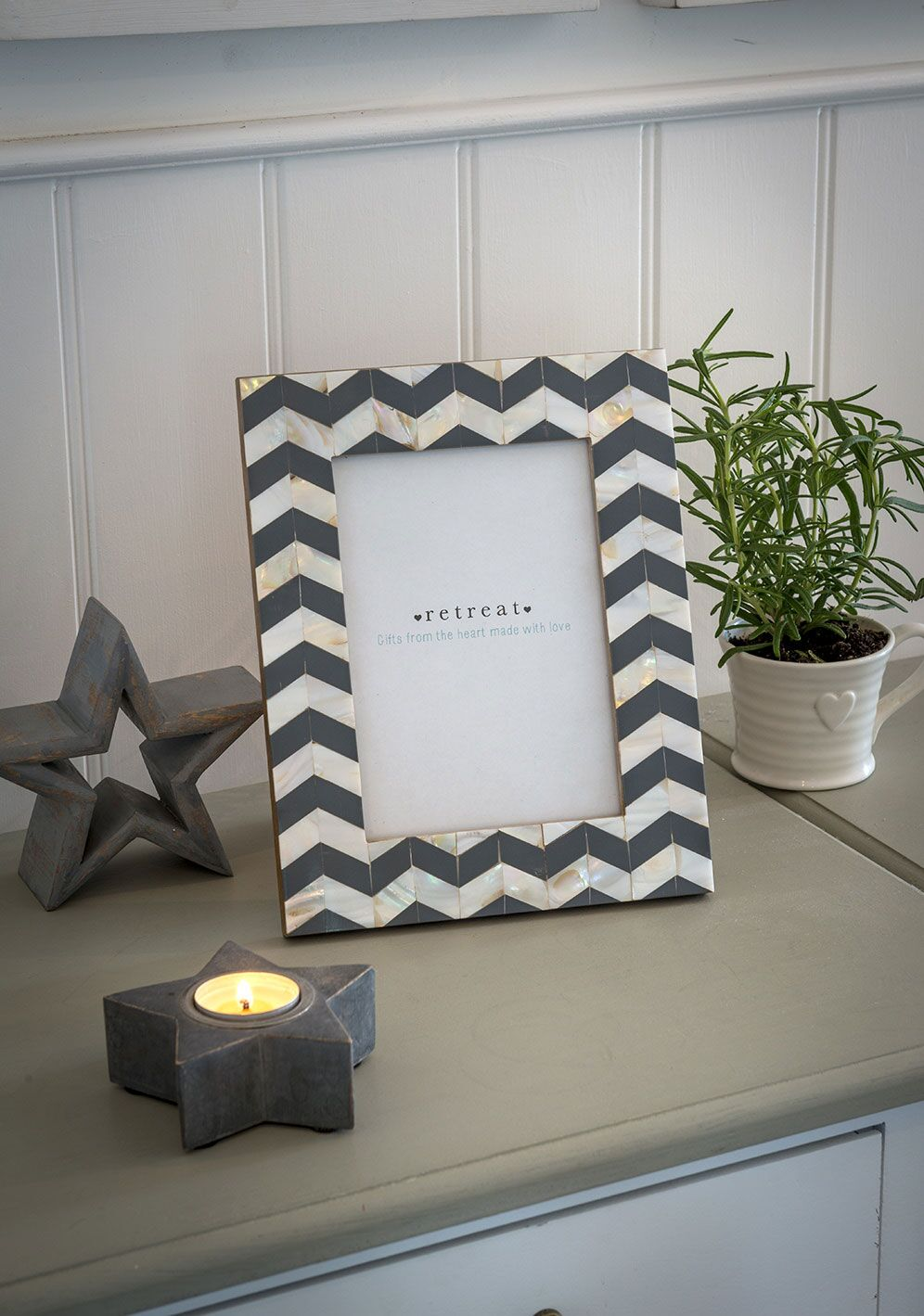 Mother Of Pearl Grey Chevron Frame