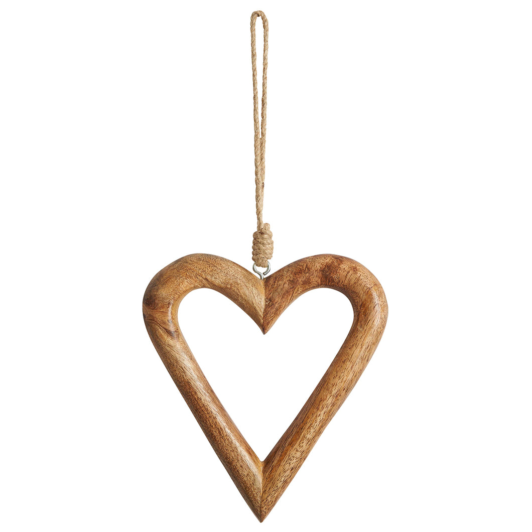 Carved Wooden  Open Heart Decoration Small