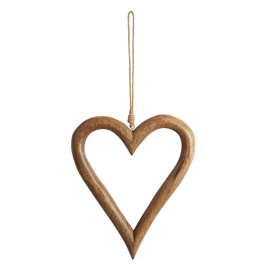 Carved Wooden Open Heart Decoration Large