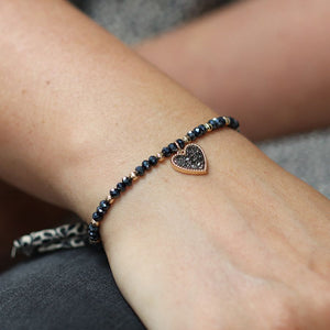Black Crystal Heart Bracelet