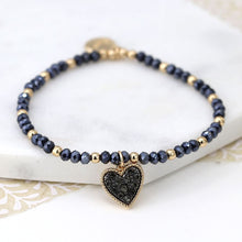 Load image into Gallery viewer, Black Crystal Heart Bracelet