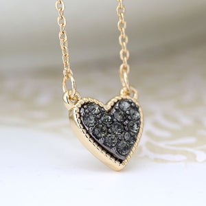 Black Crystal Heart Necklace