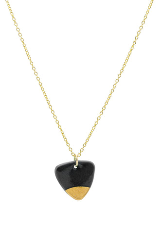 Porcelain Black Arrow Gold Dipped Necklace