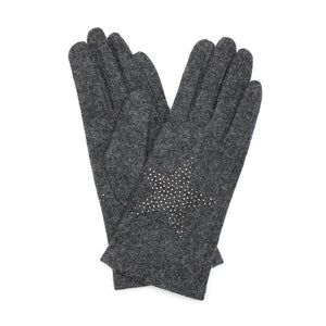 Wool Gloves With Star Embellishment In Grey