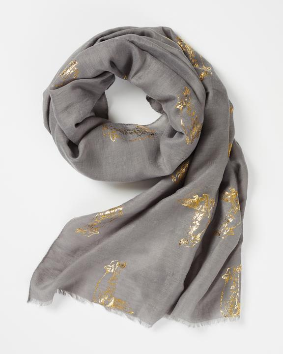 Fable Grey Gold Foil Fox Print Scarf