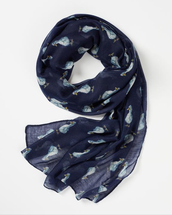 Fable Navy Quackers Duck Print Scarf