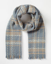 Load image into Gallery viewer, Fable Steel Blue Check Woven Scarf