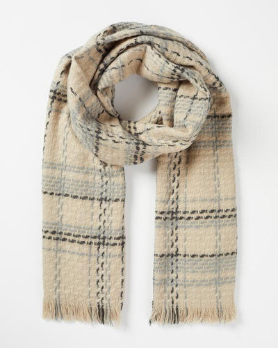 Fable Beige Check Woven Scarf