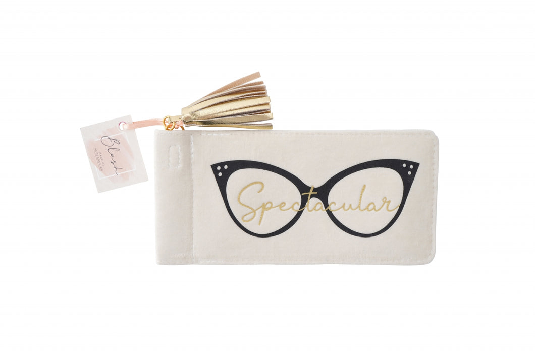 Ladies Cream Velvet Soft Glasses Case