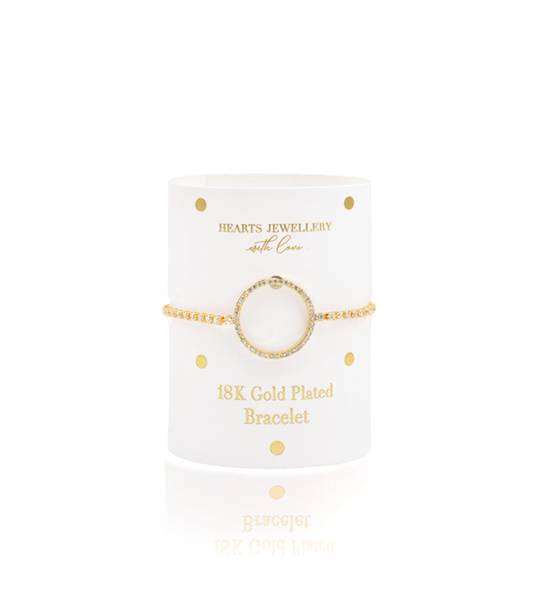 Gold Plated Circle Diamante Bracelet