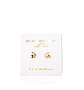 Gold Moon & Stars Diamante Earrings