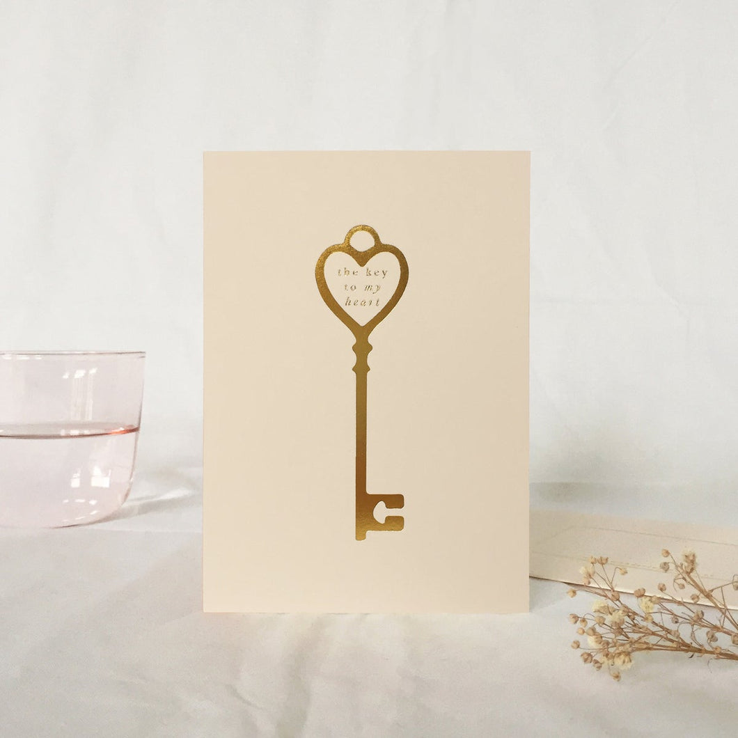 The Key To My Heart Greetings Card