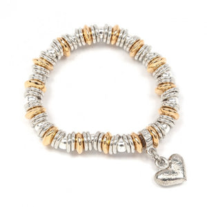 Luna London Pewter & Gold Stretch Link Bracelet With Heart
